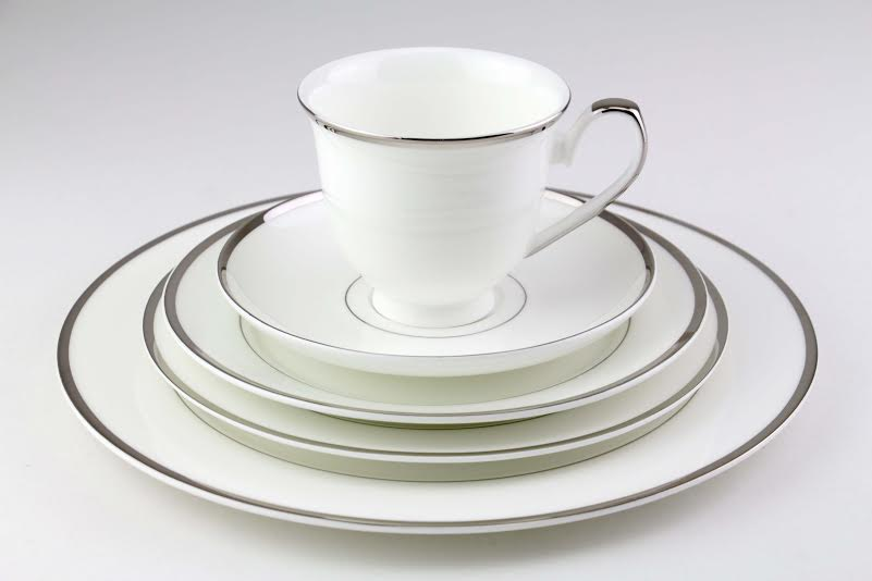 Bone China Dinnerware Set Platinum Silver Trim | Tabletop Rentals Los Angeles & Orange County