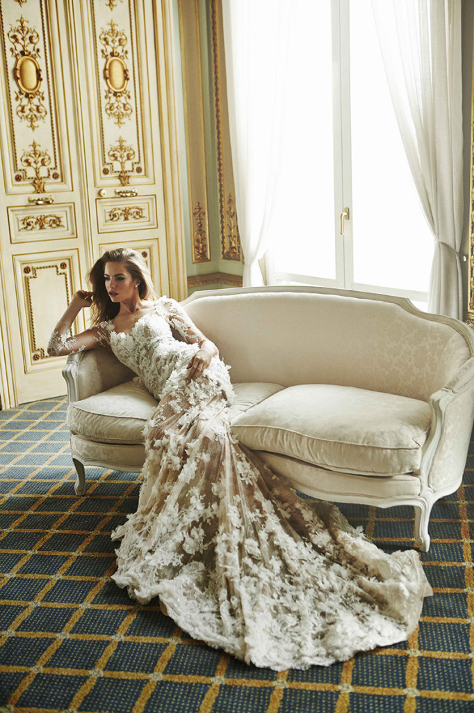 Atelier Pronovias 2015 Collection | French Sofa & Wall Panel Backdrop Inspiration