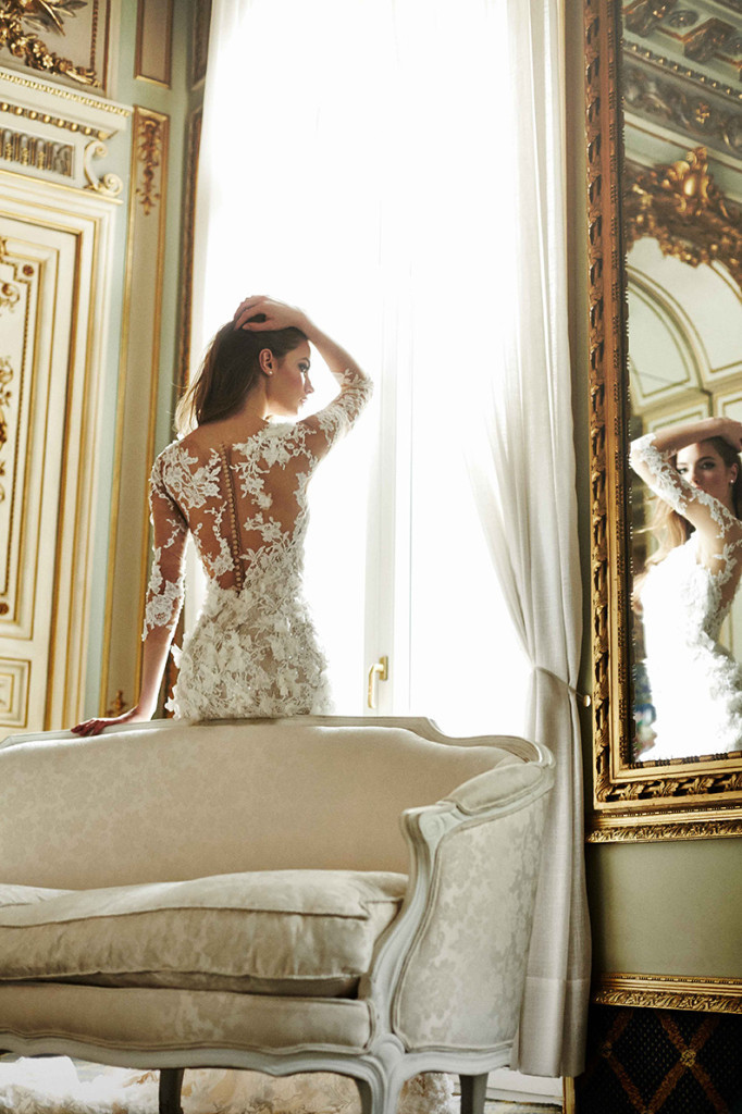 Atelier Pronovias 2015 Collection | French Sofa & Wall Mirror Wedding Inspiration