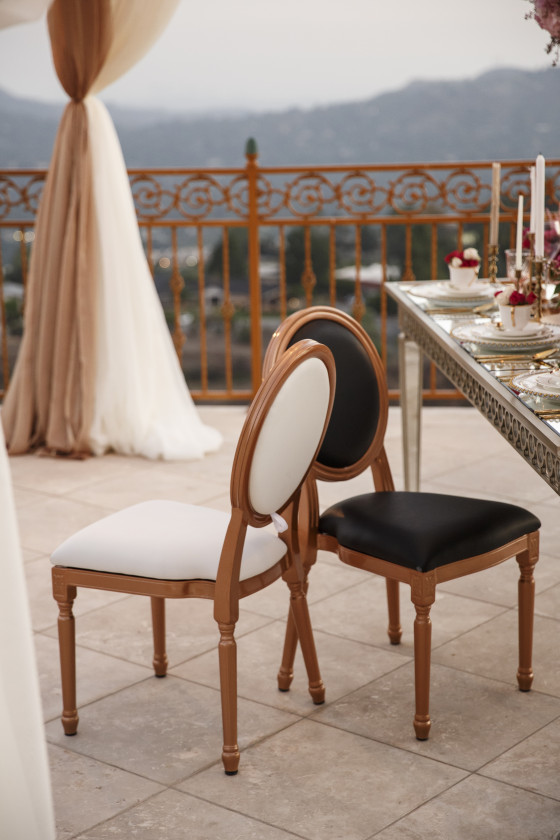 Rose Gold Louis XVI Chair | Furniture Rental Orange County