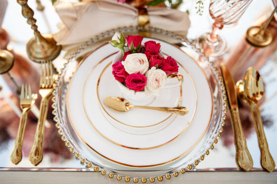 Gold Trim Bone China | Party Rentals Los Angeles & Orange County