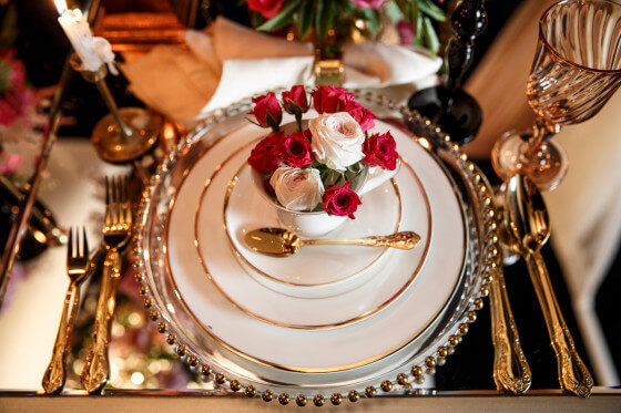 Dark Gold Trim Bone China | Party Rentals Los Angeles & Orange County