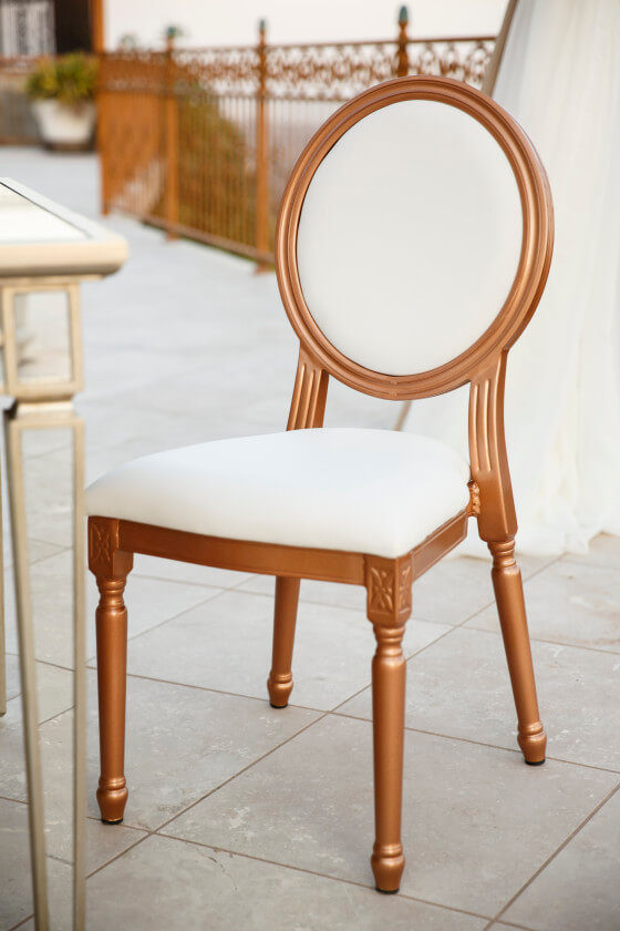 Rose Gold Louis XVI Chair | Party Rentals Los Angeles