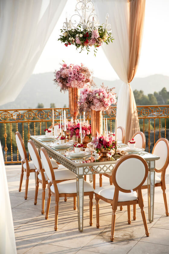 Rose Gold Louis XVI Chairs | Party Rentals Los Angeles